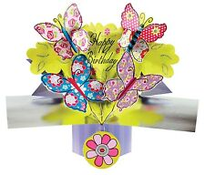 3D Pop Up Greeting Card Happy Birthday Butterflies Cards Girls Keepsake Gift