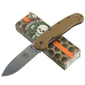 Esee Avispa Coyote Brown AUS-8 Framelock Pocket Knife Straight Edge 1301CB