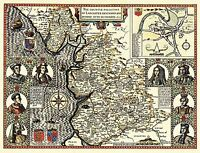 MAP ANTIQUE 1610 SPEED LANCASHIRE HUNDREDS OLD LARGE REPRO POSTER PRINT PAM0019