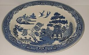 WEDGWOOD WILLOW PATTERN OVAL SERVING DISH  25CM x 20.5CM x 5CM H EXC PREOWNED