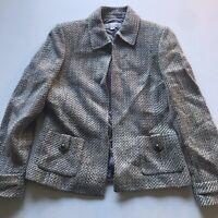 Arthur Tahari Metallic Tweed Open Front Blazer Jacket Size 8
