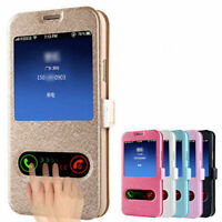 For Samsung Galaxy J Series Phones Case,Silk Flip Wallet Leather Cover Window
