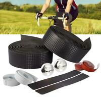 Carbon Fiber Cycling Road Bike Cork Handlebar Tape Bandage Wrap Bent Bar