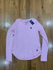 abercrombie kids girls 11/12 Sweater Top Pink V neck  Long Sleeve.  NEW