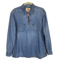 Levi's Women's Blue Denim Pullover Half Zip Shirt Blouse Long Sleeve Size M