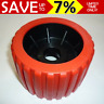 """4"""" Boat Trailer Wobble Roller Ribbed Inch 22mm Bore OZ made HD rollers Red Black"""