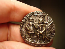"""Antique Brass """"STEPPING DOWN FOR A BOAT RIDE"""" scene LARGE button"""