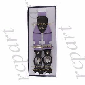 New Y back Men's Vesuvio Napoli Suspenders Braces clip on formal prom Lavender