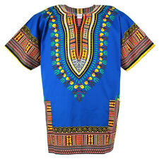 Plus Size African Dashiki Cotton Mexican Hippie Tribal Boho Shirt Blue ad18s