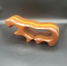 "Huge 15"" Handcrafted Native Redwood Abstract Hippopotampus House Hippo"