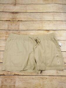 Gap Linen Blend Womens XL Shorts Chino Utility High Rise Khaki Pull On