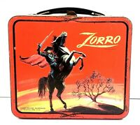Vintage Zorro Metal Lunch Box Red Sky - (No Thermos)