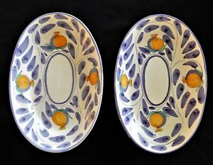 2 x Desuir Stefano Camastra Italy Hand Painted Pomegranate Serving platters VGC