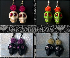 FUNKY SKULL ROSES RETRO EARRINGS SUGAR DAY OF THE DEAD PUNK ROCK EMO GOTH GIRL