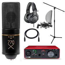 Home Studio MXL 770X Mic Focusrite Solo 3rd Gen Interface Stand and ATH-M20x
