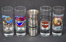 Lot of 5 Harley Davidson Dealership Shot Glasses 4 Glass (2 closed) 1 Stainless