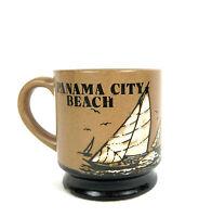 Vtg Otagiri Coffee Mug Panama City Beach Cup Embossed Speckled Stoneware Sailing