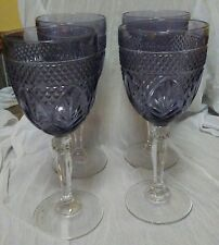 French Amethyst Crystal water goblets France set of 4