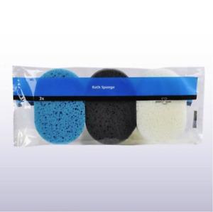 Multy 3 Oval Bath Sponges -Teal,Charcoal,White-Bath,Shower,Clean-Colour Choice: