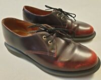 Dr Martens Brook Cherry Red 2 Eyelet Leather Shoes Rubber Soles UK Size 6 EU 39