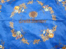 "GRAND MARNIER SCARF LARGE 35 1/2"" X 35"" BRONZE GOLD ON STUNNING BLUE POLYESTER"