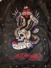 ED HARDY AVIREX CHRISTIAN AUDIGIER LEATHER Motorcycle Coat Men XL New York City