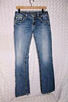 Miss Me Womens Boot Cut Jeans Rhinestone Embellished Flap Pockets sz 29 distress