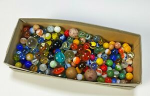 Collection of Old Vintage Glass and Clay Marbles