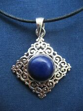 Handmade Solid 925 Sterling Silver & Lapis Lazuli Pendant Necklace 925039