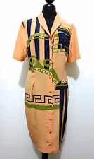 CULT VINTAGE '80 Abito Vestito Donna Seta Optical Silk Woman Dress Sz.M - 44