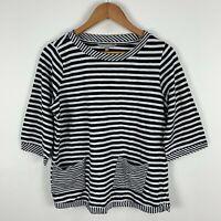 Yarra Trail Womens Shirt Top Medium Black White Striped Short Sleeve
