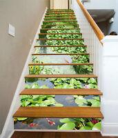 3D Wasserpflanzen 2 Stair Risers Dekoration Fototapete Vinyl Aufkleber Tapete DE