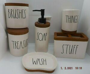 NEW Rae Dunn Ceramic & Wood Bathroom Accessories - 6 Piece Set