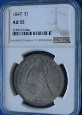 """*VERY STUNNING 1847 SEATED LIBERTY DOLLAR """"SUPER COLOR"""" AU-55 NGC*"""