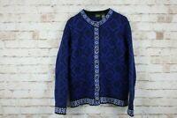 L.L.Bean Merino Wool Blue Cardigan Size M