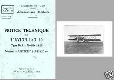 Lioré et Olivier LeO 20 Biplane Technical Manual archive rare period 1928