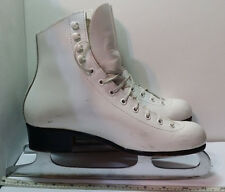Vintage White Riedell Red Wing Mn 220N Figure Skates Sz 5 with Mk England Blades