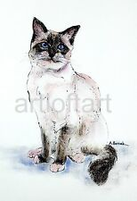 Ragdoll Cat Art Print Signed A Borcuk Painting 8x10