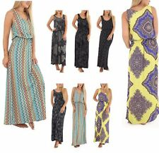 Womens Ladies Printed Plus Size TOGA  Bubble Racer  Back Maxi Dress Balloon