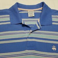 Brooks Brothers Mens Golf Polo Shirt Size XL Slim Fit Blue Stripes Short Sleeve