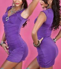 SeXy Miss Damen Gogo Mini Kleid Party Dress gerafft Strass 34/36/38 TOP lila NEU