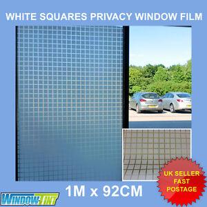 WHITE SQUARES DECORATIVE PRIVACY WINDOW FILM SHOWER - 92cm x 1m Roll (16) S003