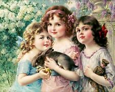 Three Graces by Emile Vernon Three Little Girls & A Bunny Fine Art Giclee 22x18