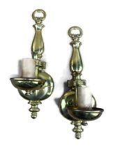 Pair Antique Vintage Victorian Brass Wall Light Candle Sconce Pull Chain Lamps