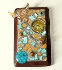 Western Faith Mosaic Art Blue Brown Longhorn Cow Glass Found Object Folk Small