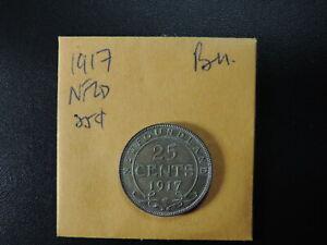 1917C 25 Cent Coin Canada George V Newfoundland .925 Silver MS60+ Grade