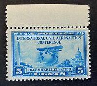 US Stamps, Scott #650 5c 1928 International Civil Aeronautics Conf VF/XF M/NH