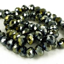 6x8 mm fire polished Crystals Silver Grey/Gold Jewellery Beads Pack 72