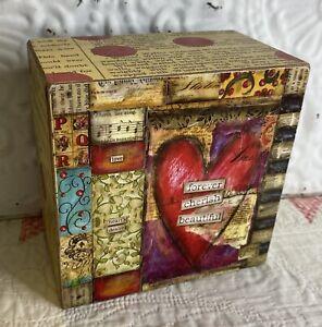"""Joyful Nest By Lisa Kaus  Box Art  Heart Wall Art  5x5x3""""  """"Heart's Desire"""""""