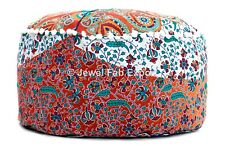 Handmade Footstool Red Pouf Cover 100%Cotton Floral Ottoman Pouf Cover